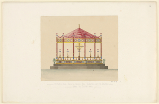 Design for an open-air decagonal (ten-sided) music pavilion with red conical roof.  Pavilion stands on decagonal base with two levels of steps.  The dado and frieze are ornamented with decorative panels (see 1991-17-9/10).  Candelabra sit on raling in between columns supporting roof.  Two plants sit on top step on either side of pavilion.