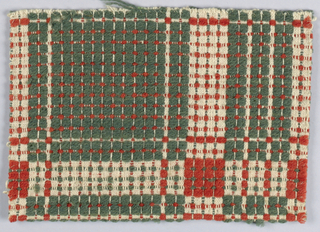 Fragment showing traditional geometric coverlet design of large checkered squares wihtin a framework of patterned bands. In dark yellow-green and bright rust red wool pattern wefts on undyed ground. Reversible and hand hemmed on one side.