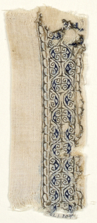 Embroidered band of scroll-work in brown and blue.