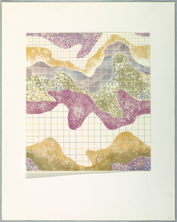 Bands of curving horizontal shapes on a fine grid in purples, pinks, and tans.