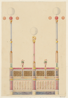 Design for the low side wall of a music pavilion, which supports three tall light posts. The two matching end light posts are decorated with blue and white stripes and gold accents.  The top of each post terminates in a large white globe lantern, with three smaller globe lanterns below, two colored orange and the third red.  The shorter central lamp post is articulated with red and white stripes and is surmounted by a gold eagle, upon which rests a white globe lantern.  Two urn-shaped flowerpots are placed between the light posts and rest on the pavilion wall below.  The low side wall of the pavilion is divided into several rectangular ornamental compartments, which are decorated in a variety of patterns and colors.  A large portion of the upper half of the wall is decorated with two-toned abstract, geometric patterning and the lower wall is decorated with a series of vertically-oriented, rectangular sections of pink marble, which rests on a horizontal gray marble base.
