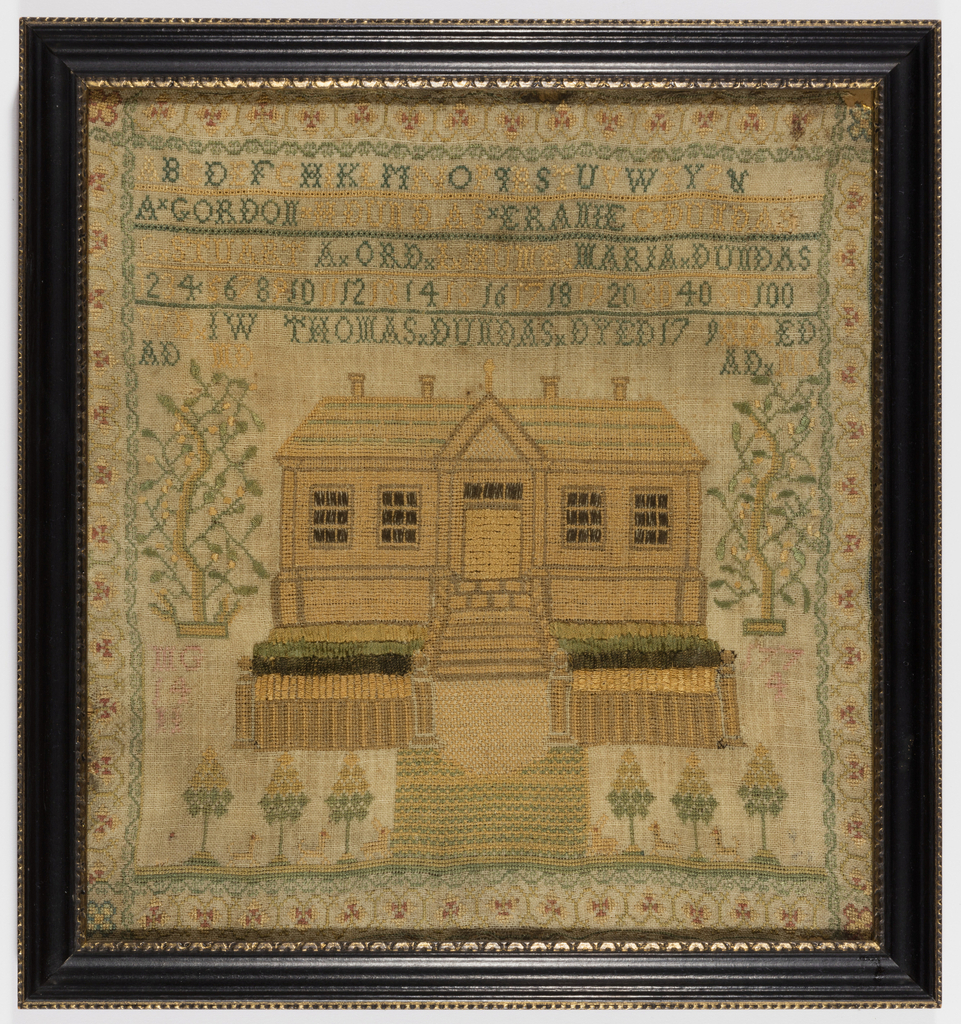 Register of the members of the Dundas family worked in black cross-stitch in the upper third; a large house with gardens below, flanked by flowering trees; stylized running vine border.