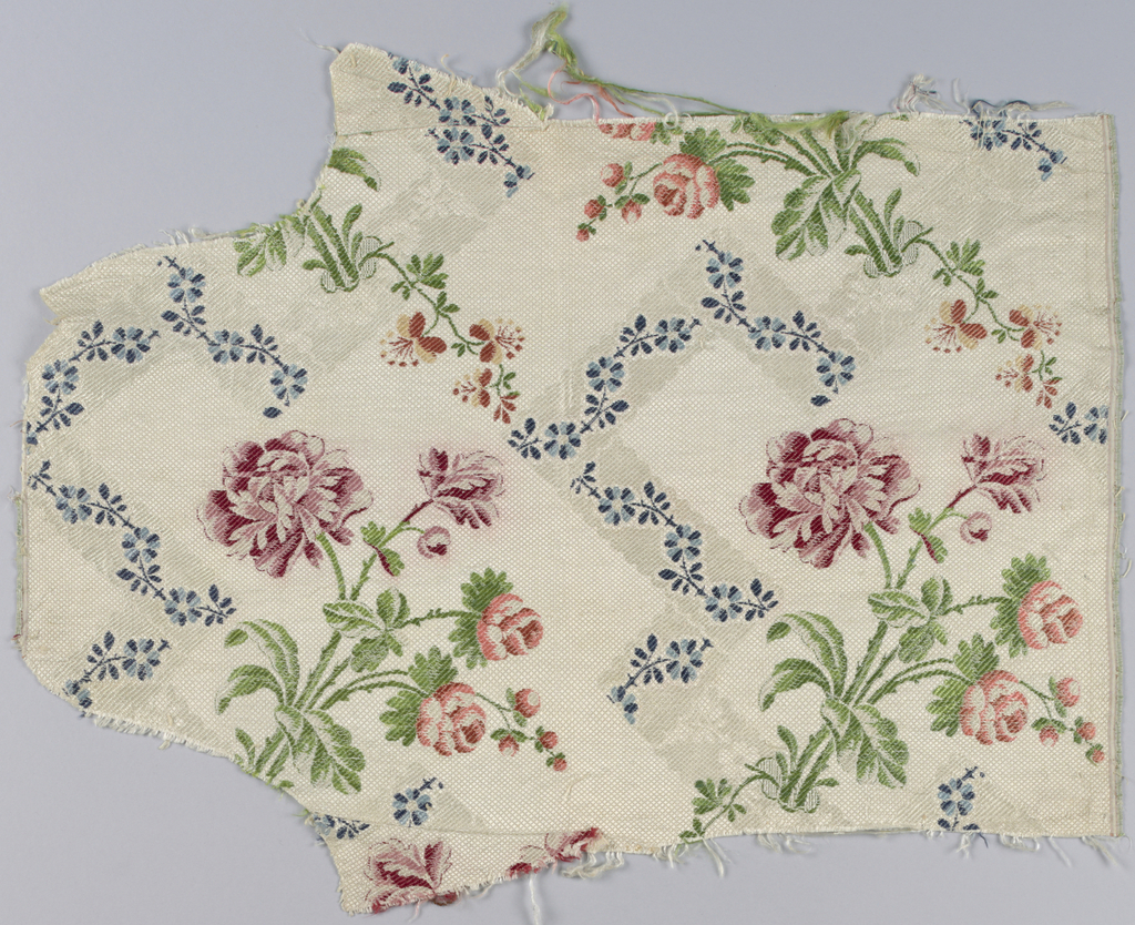 """Fragments of an all-over pattern made up of a bunch of roses with trailing floral vine and a fine detached flowering vine arranged in a group.  The groups are placed side by side and reversed end to end to counter balance movements.  Polychrome pattern on an """"ivory on ivory"""" geometric-patterned background."""