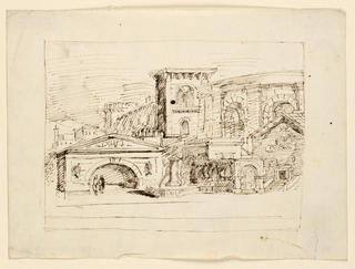 Horizontal rectangle. Conglomeration of antique buildings, fountain in foreground, two figures at left.
