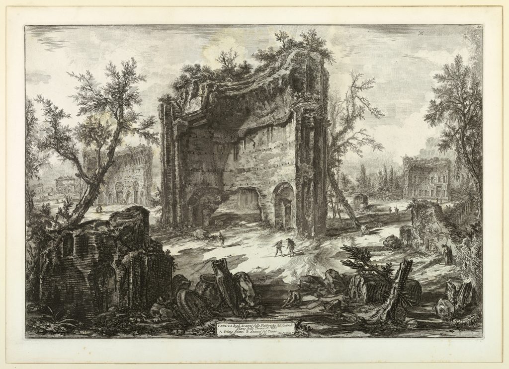 """View of a large section of the ruins of the Baths of Trajan. Smaller sections to the left and right in background. Title on cartouche, center below: """"Veduta degli Avanzi delle Fabbriche..."""" Signed in cartouche, right """"Cav. Piranesi F."""""""