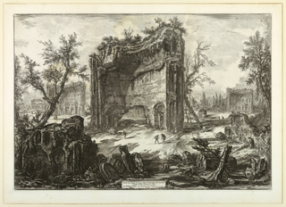 "View of a large section of the ruins of the Baths of Trajan. Smaller sections to the left and right in background. Title on cartouche, center below: ""Veduta degli Avanzi delle Fabbriche..."" Signed in cartouche, right ""Cav. Piranesi F."""