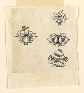 Drawing, Design for four pins; leaves, flowers, 1650–1700