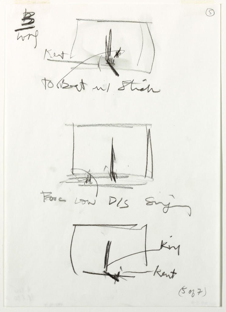 """Three small, vertically-aligned sketches of a stage, each with a tall chair on it. Top and bottom sketches also have a long, low-lying bed at the foot of the chair. The middle image has an object/figure in the left foreground. Artist's notes are below each sketch/ In bottow right corner, handwritten text: """"(5 of 7)"""""""