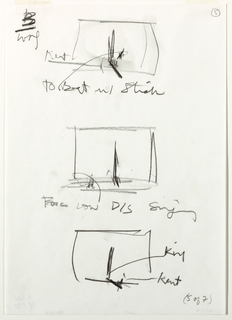 "Three small, vertically-aligned sketches of a stage, each with a tall chair on it. Top and bottom sketches also have a long, low-lying bed at the foot of the chair. The middle image has an object/figure in the left foreground. Artist's notes are below each sketch/ In bottow right corner, handwritten text: ""(5 of 7)"""