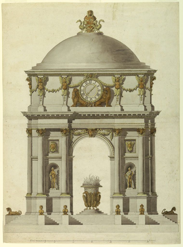 Drawing, Pavilion with a Clock and