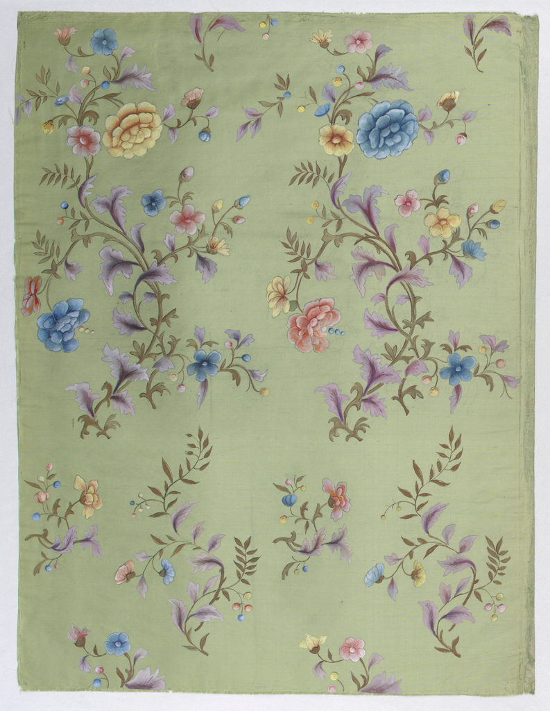 Trailing branch, flower and leaf forms in shades of blue, yellow, lavendar, pink and brown; painted on green silk ground.