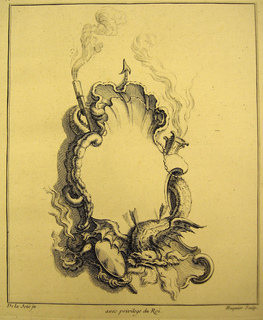 Print, Design for Cartouche: Allegory of Fire