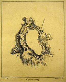 Print, Design for Cartouche Evoking the Chase