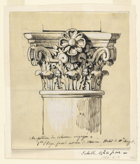 Drawing, Design for a Capital