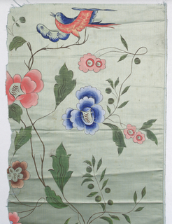 Light green-blue satin, machine woven, painted in strong clear colors, probably in France in imitation of Chinese style; flowers, foliage, birds. Incomplete widths; left selvages present.