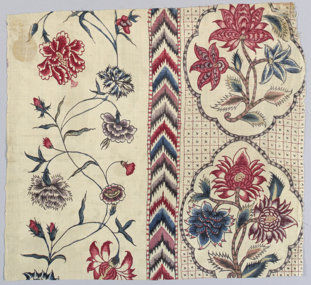 Floral stripe at left; chevron stripe in the middle; floral medallions at right. A painted adaption of a European block printed cotton.