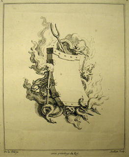 Print, Cartouche Decorated with Elements of Fire