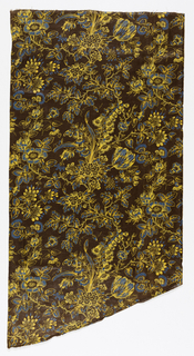 Glazed printed cotton with a dark brown ground and an all-over design of natural-size roses and cornflowers, in strong acid yellow and blue.