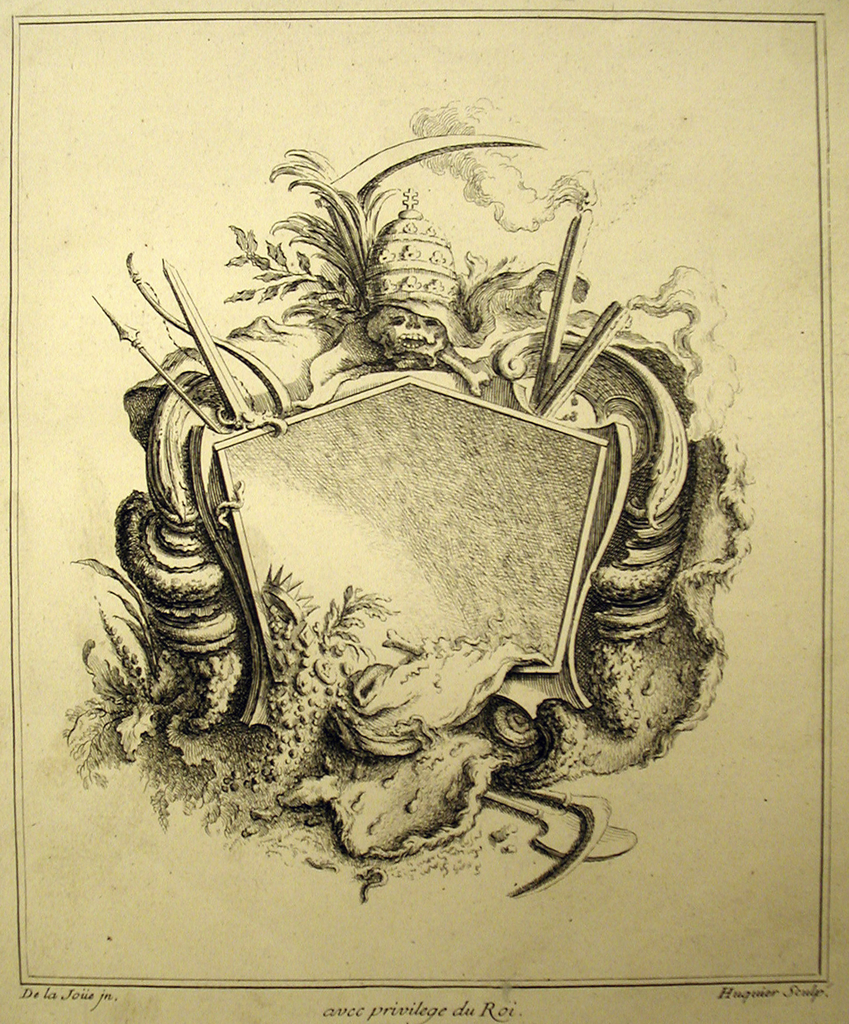 Print, Design for Cartouche Evoking Death