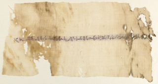 Section of natural linen loosely woven plain cloth with narrow horizontal inscription band of delicate small Kufic lettering in faded red silk wefts on background of linen wefts. Fatimid period.