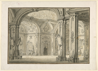 Horizontal rectangle showing a view into an elaborately decorated hall with several recesses,a painted dome. Mirrors and high backed chairs line each wall.