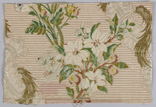 Rose-colored ground with wide horizontal ribbing formed by extra silk warp. Incomplete design of lace serpentines with floral bouquets and ermine. Pattern uses chenille, floss and boucle yarns.