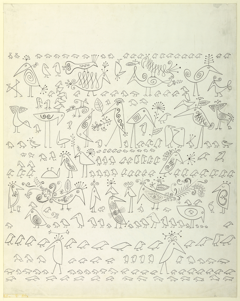A linear design, depicting birds of varying sizes, some with ornamentation. The rendering of each bird, whether decorated or simple, makes no attempt at realism, instead employing a few lines to suggest the size and shape of the animal.