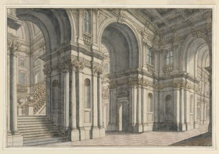 Horizontal rectangle showing a palace hall with a high coffered ceiling. Staircase visible through an archway at left.