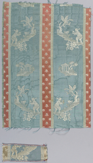 Silk with blue moiré stripes and narrow red satin stripes has small, isolated designs in white of a hunter pursuing a hare and a small pavilion with trees. Red stripes have a pattern of small white sprigs.