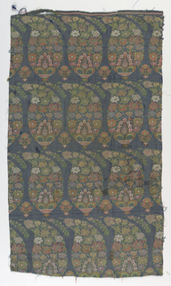 Pattern of horizontal bands of floral botehs in multicolor on gray/blue background.