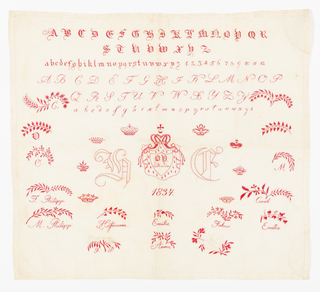 Marking sampler with two alphabets, crowns, crests, leafy branches and names in red on fine white cotton.