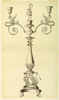 Lion paws support a base. Upon it, eagles and a vase at left, swans at right, are to support another base, upon which a column topped with a statuette of Diana. Two branches are fastened upon which foreparts of crouching griffons support the sockets.