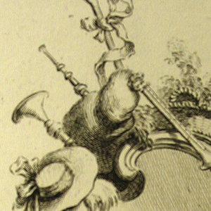 Cartouche decorated with a crook tied with a bow, a horn, a shepherd's hat, two lambs, a dog, and two baskets.