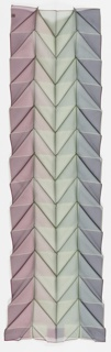 Crisp pleats in a series of alternating diagonals form a chevron pattern in this sheer scarf of mauve, pale green and pale blue.