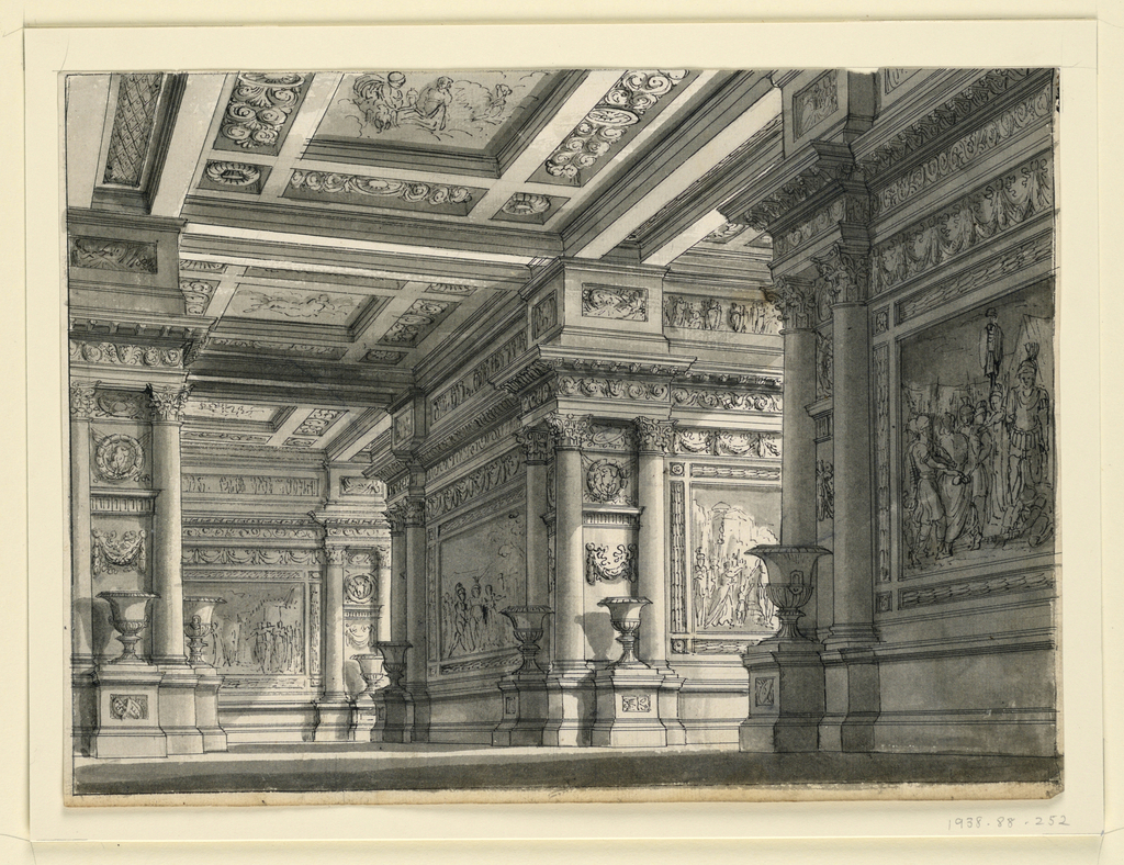 """Drawing, Stage Design, Room in the Palace of Titus for the Opera """"La Clemenza di Tito"""" by Mozart"""
