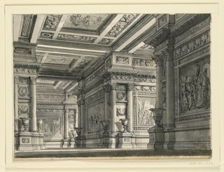 Horizontal rectangle. Interior of vast hall decorated with pictures on walls in architectural setting.
