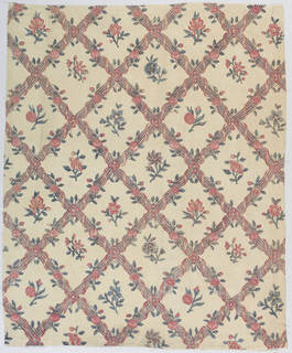 Diamond lattice of columns and curving ribbons enclosing floral sprays. Indian adaptation of a European design for printed fabric.