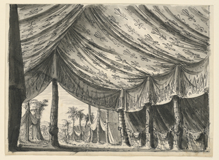 Horizontal rectangle. View of large tent suspended by trees, the lateral being connected by crossed halberds over which a skin of a leopard is laid. Fabric decorated with ornamental motifs. The tent entrance is at the back to the left, with one tree as support in center, on which a trophy of arms is suspended. Through the entrance, views of smaller tents and mountains in the background.
