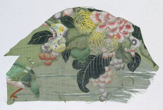 Fragment of blue-green silk, showing portion of painted design; large scale group of grapes, leaves, and peony painted in shades of red, vermillion, yellow, violet. At lower left appears tail of a bird, one leg and claw clutched to stem. Bird's back is green, breast white and rose, leg vermillion.