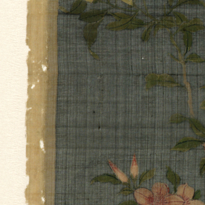Eight small panels painted with various Chinese scenes on a black ground. A) Reedy branch with three pink flowers and buds, two brown birds. B) Orchids and leaves in white, pink and green. C) Pink and white flowering branch. D) Red and white roses on branches. E) Two white swallows of pink cherry blossoms F) Arcs of pink bell shaped flowers. G) Yellow flowers and brown and blue flower. H) White flower and closed buds.