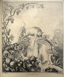 Print, Design for a Cartouche Evoking the Season of Autumn and The Chase