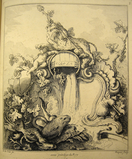 A tiger holding a thyrsus atop a barrel that is probably pouring wine, his paw resting on the head of a putto. Clusters of grapes and leaves decorate the cartouche. Enormous fish are at bottom foreground.