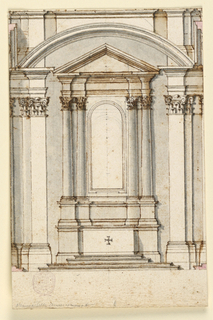 Vertical composition with the elevation of an altar. The altar has two pairs of embedded Corinthian columns, each with a triangular pediment and picture frame. The altar is framed by two pilasters and an arch.