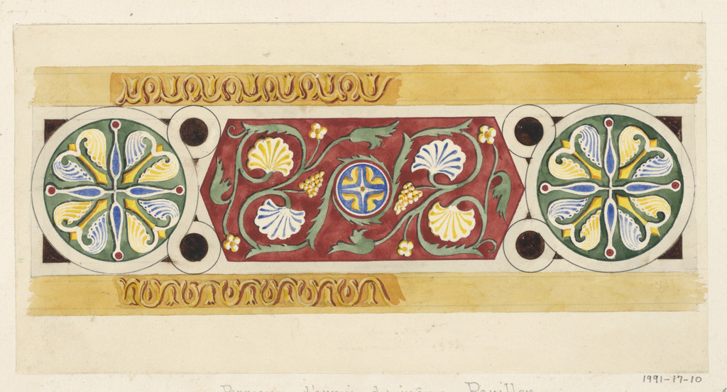 Geometric oriental design red, green, blue, gold, and black for dado panels of music pavilion (see 1991-17-7).  Elongated hexagon between two circular fields with four-lobed leaf-like objects at center.  Decorative bands at top and bottom are partially described.