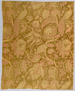 Tan satin ground with some details of the design in plain weave. Allover closely-spaced design of curving branches with large decorative flowers and foliage. Peacocks perch on branches. Design in the tan functional weft and an extra coral silk weft.