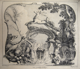 A cartouche within a cartouche, forming a curved bridge on which a stag is pursued by two dogs. Below, a waterfall with a dog's head at center. At left, a bucket, fruit, leaves, a goose, and two heads of dogs. At right, a dog's head spouting water, to its right, a large leafy tree.
