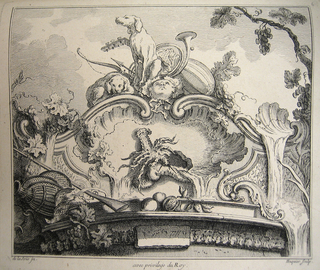 Cartouche with large crayfish dominating the central space. At top, elements of the chase: a hunting dog, a mandolin, a bow and arrow. At top center, a mask looking towards the sky. Clusters of grapes, leaves, and cascades of water at left and right of cartouche.