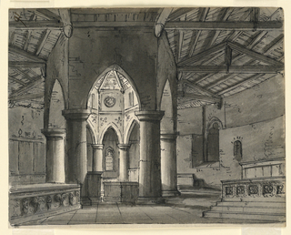Horizontal rectangle. Interior of Gothic polygonal chapel.