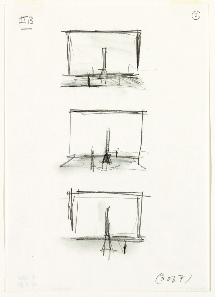 """Three small, veritcally-aligned sketches of a stage. each with a tall chair at or near center.  Top and middle sketches have a second object (or figure?) in left foreground. Bottom image has same object/figure in right foreground. In bottom right of sheet, handwritten text: """"(3 of 7)"""""""