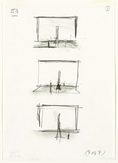 "Three small, veritcally-aligned sketches of a stage. each with a tall chair at or near center.  Top and middle sketches have a second object (or figure?) in left foreground. Bottom image has same object/figure in right foreground. In bottom right of sheet, handwritten text: ""(3 of 7)"""